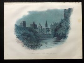 Cassell 1902 Antique Print. Cardiff Castle - East Front and Keep